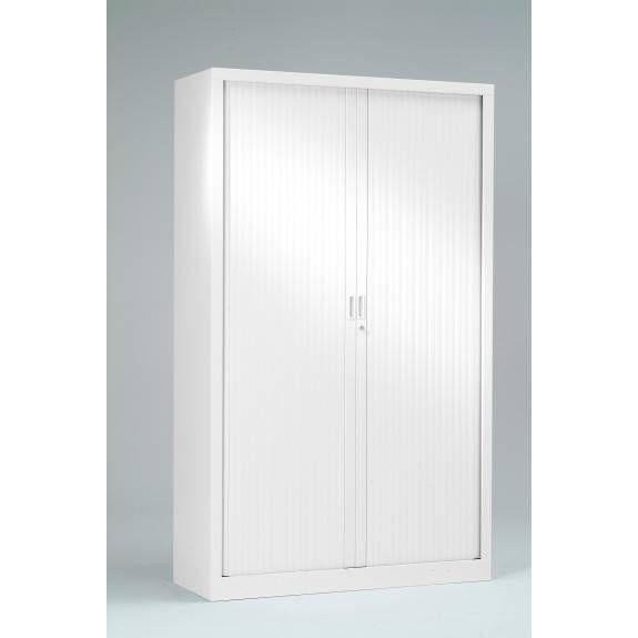 Armoire monobloc h198xl 60xp43 cm 4 tab. Blanc rideaux blanc