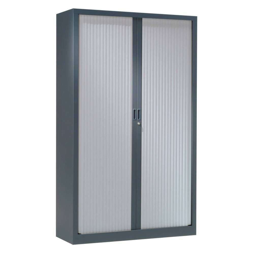 Armoire monobloc h198xl 60xp43 cm 4 tab. Anthracite rideaux aluminium