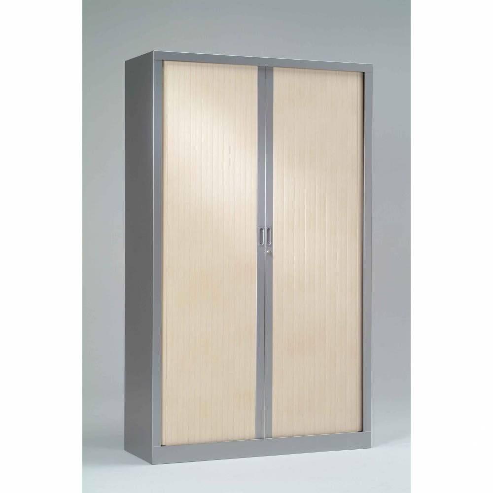 Armoire monobloc h198xl 60xp43 cm 4 tab. Aluminium rideaux érable