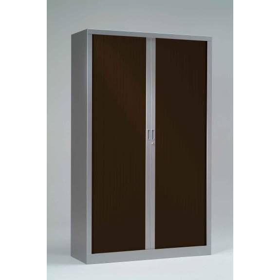 Armoire monobloc h198xl 60xp43 cm 4 tab. Aluminium rideaux wengé