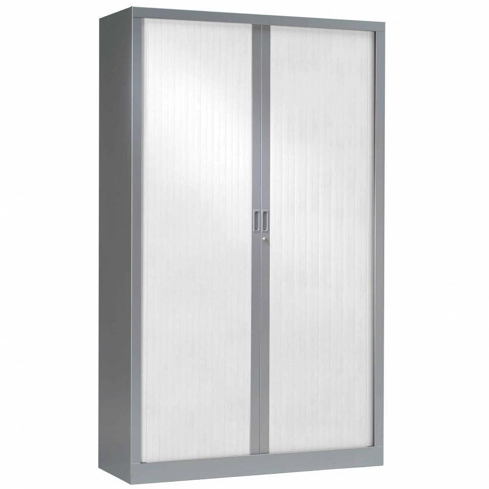 Armoire monobloc h198xl 60xp43 cm 4 tab. Aluminium rideaux blanc