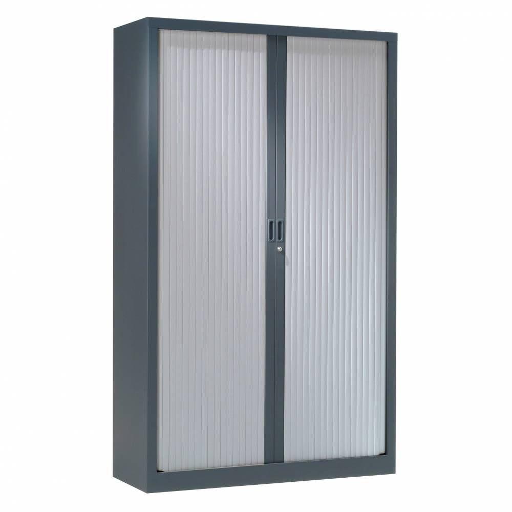 Armoire monobloc h160xl120xp43 cm 3 tab. Anthracite rideaux aluminium