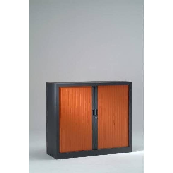 Armoire monobloc h136xl120xp43 cm 3 tab. Anthracite rideaux merisier