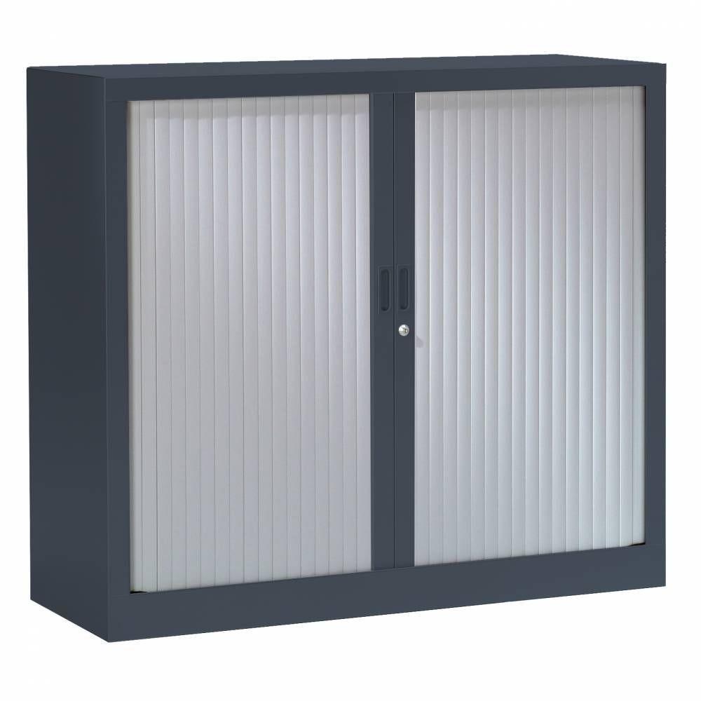 Armoire monobloc h136xl120xp43 cm 3 tab. Anthracite rideaux aluminium