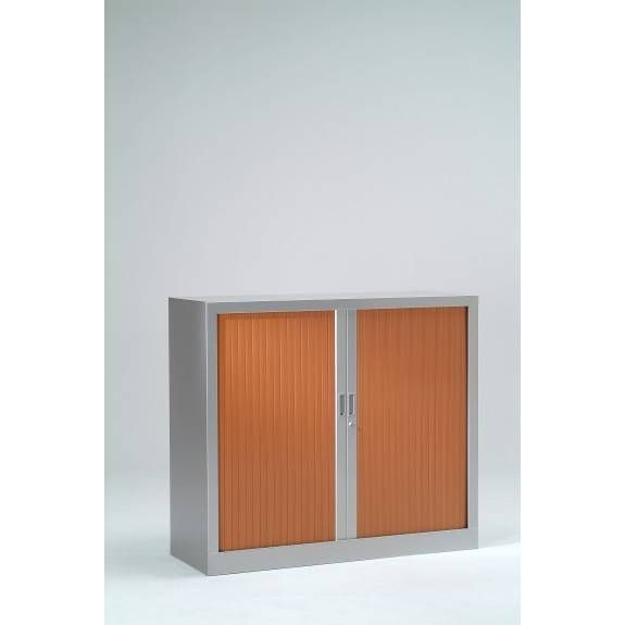Armoire monobloc h136xl120xp43 cm 3 tab. Aluminium rideaux merisier