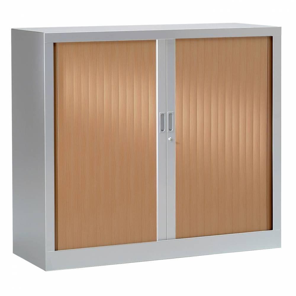 Armoire monobloc h136xl120xp43 cm 3 tab. Aluminium rideaux poirier rosé