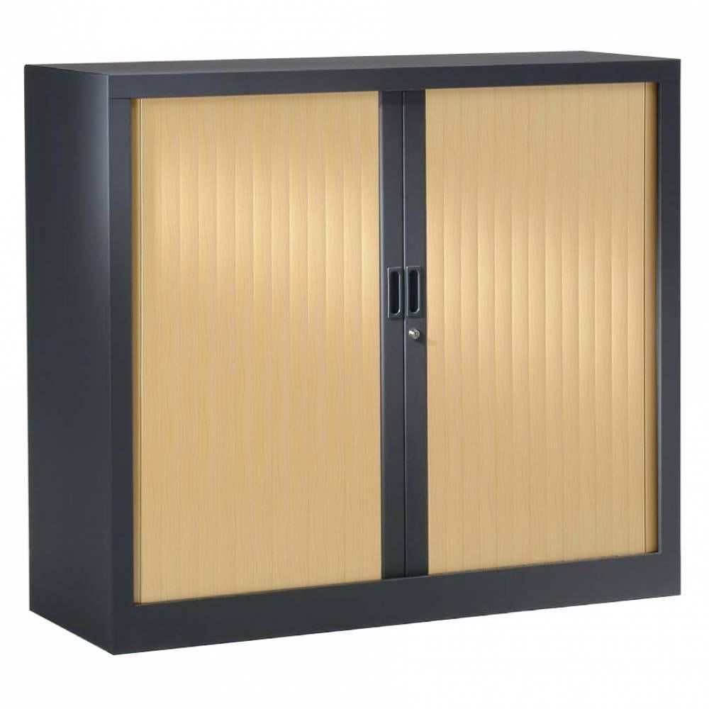 Armoire monobloc h136xl100xp43 cm 3 tab. Anthracite rideaux chêne clair
