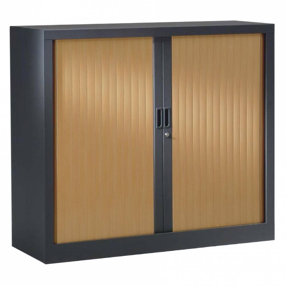 Armoire monobloc h136xl100xp43 cm 3 tab. Anthracite rideaux pommier honfleur