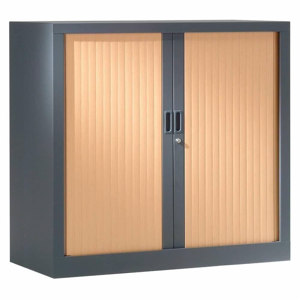 Armoire monobloc h136xl 80xp43 cm 3 tab. Anthracite rideaux hêtre