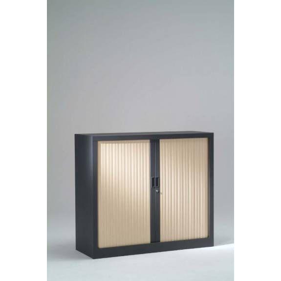 Armoire monobloc h136xl 80xp43 cm 3 tab. Anthracite rideaux érable