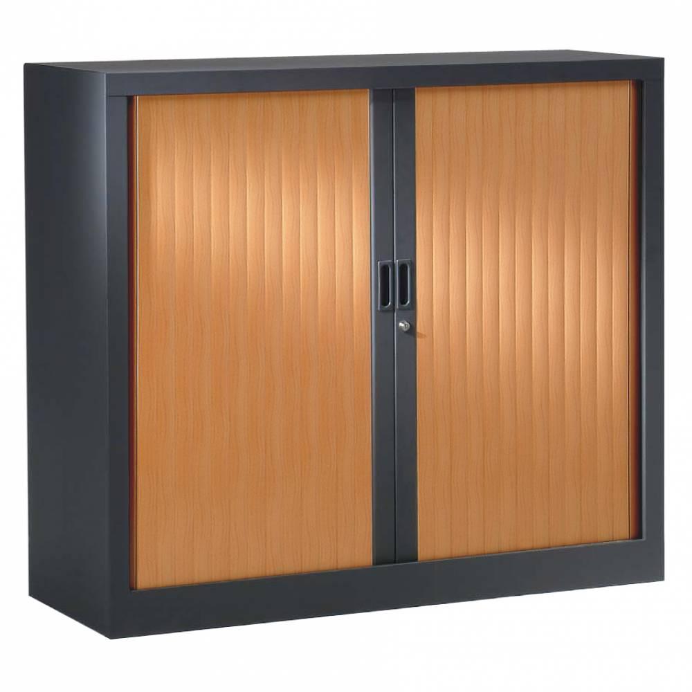 Armoire monobloc h136xl 80xp43 cm 3 tab. Anthracite rideaux pommier france