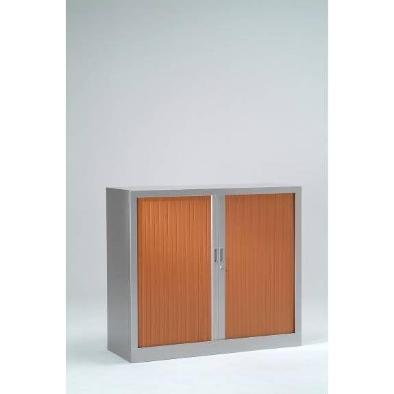 Armoire monobloc h136xl 80xp43 cm 3 tab. Aluminium rideaux merisier