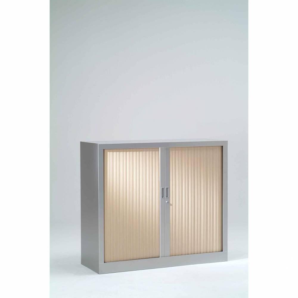 Armoire monobloc h136xl 80xp43 cm 3 tab. Aluminium rideaux érable