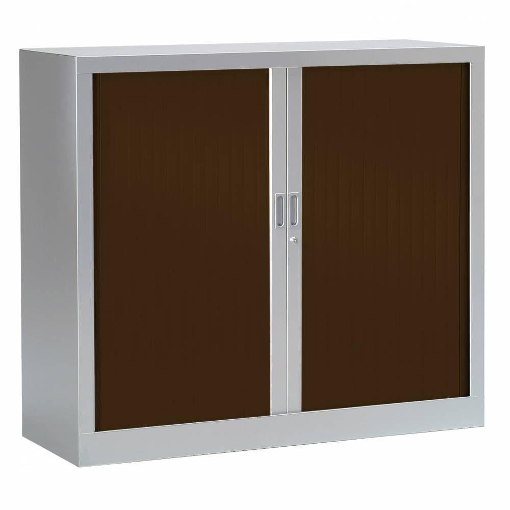 Armoire monobloc h136xl 80xp43 cm 3 tab. Aluminium rideaux wengé