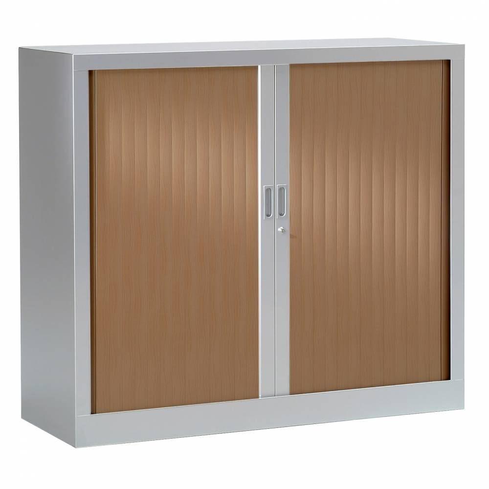 Armoire monobloc h136xl 80xp43 cm 3 tab. Aluminium rideaux poirier foncé