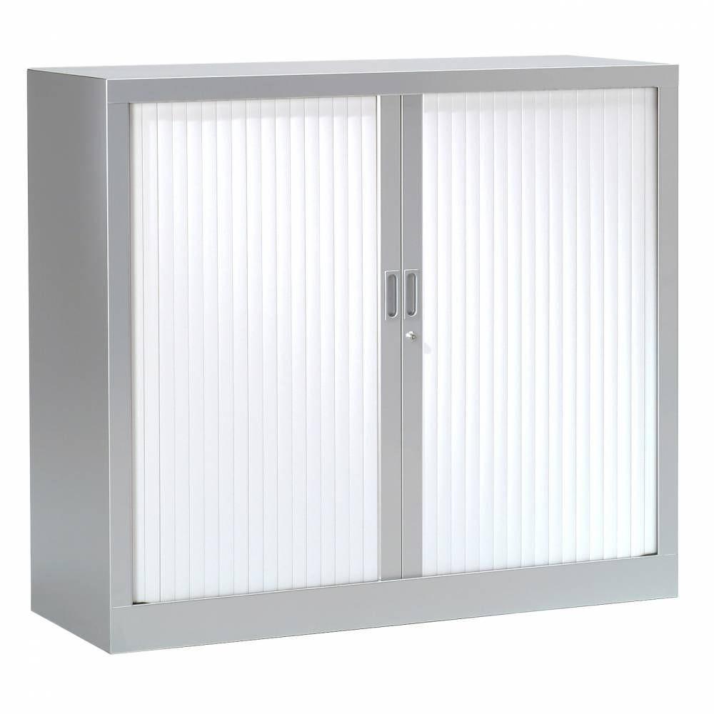 Armoire monobloc h136xl 80xp43 cm 3 tab. Aluminium rideaux blanc