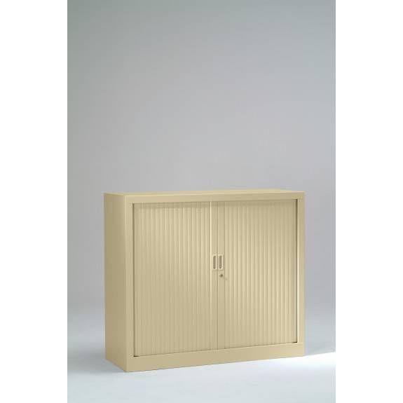 Armoire monobloc h100xl100xp43 cm 2 tab. Beige rideaux beige