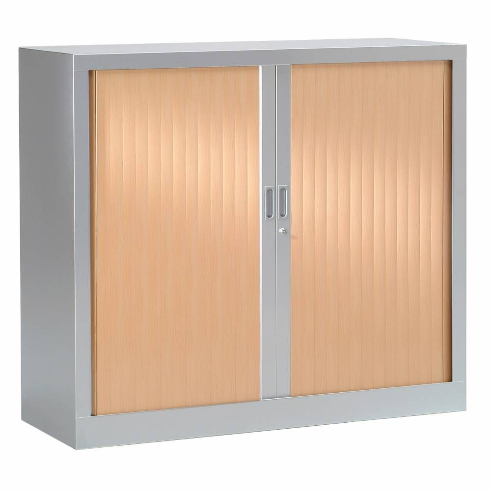 Armoire monobloc h100xl100xp43 cm 2 tab. Aluminium rideaux hêtre