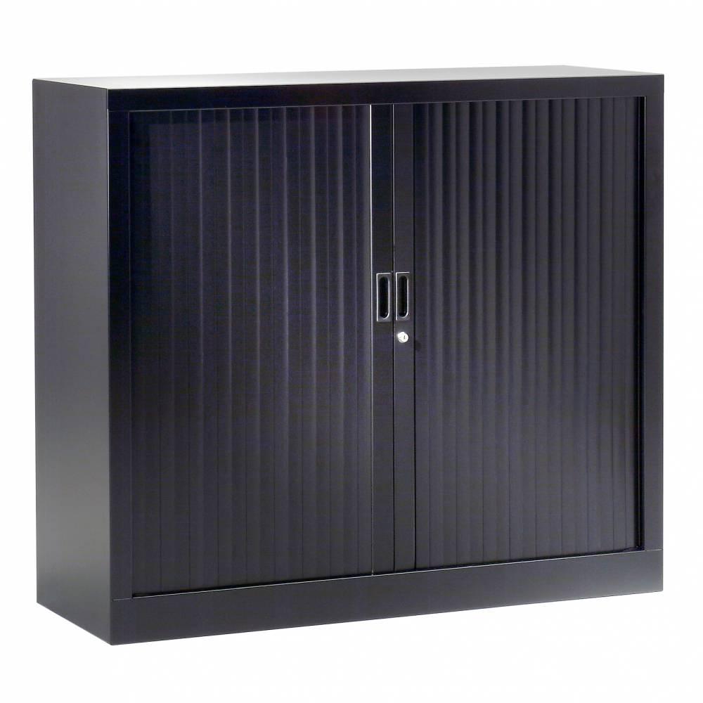 Armoire monobloc h120xl120xp43 cm 2 tab. Noir rideaux noir