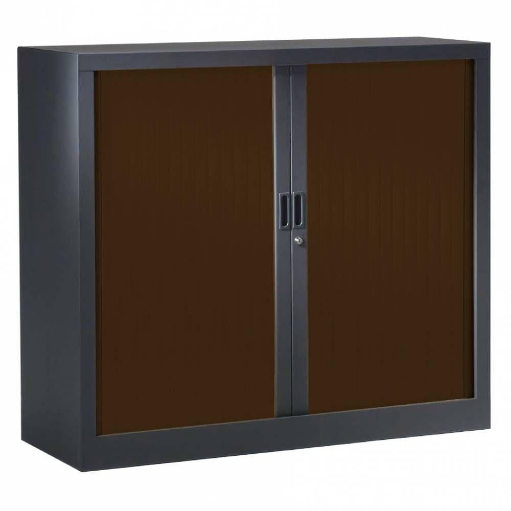 Armoire monobloc h120xl120xp43 cm 2 tab. Anthracite rideaux wengé