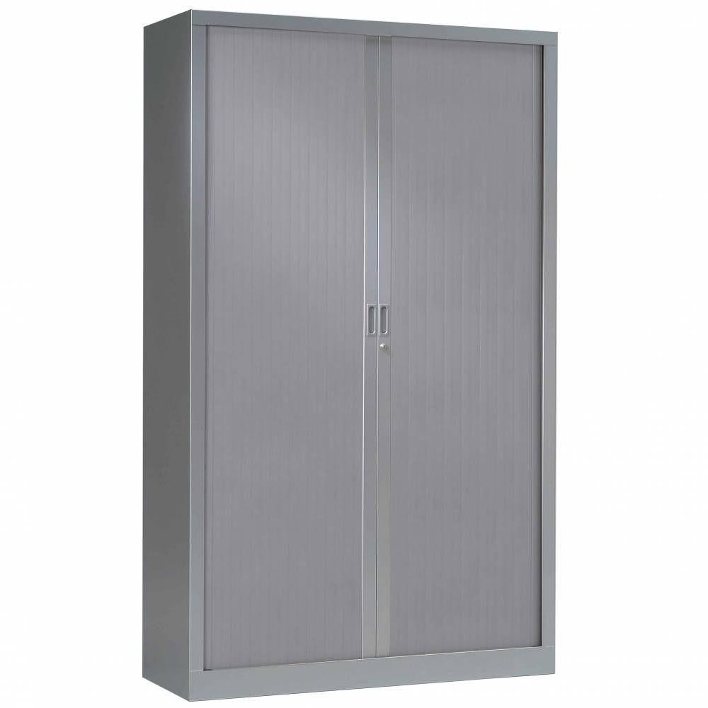 Armoire monobloc rideaux 1/3 penderie h198xl120xp43 cm tout aluminium