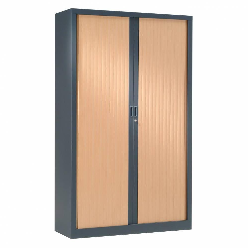 Armoire monobloc rideaux 1/3 penderie h198xl120xp43 cm anthracite rideaux hêtre