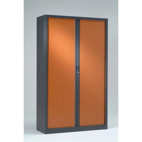 Armoire monobloc rideaux 1/3 pend h198xl120xp43 cm anthracite rideaux merisier