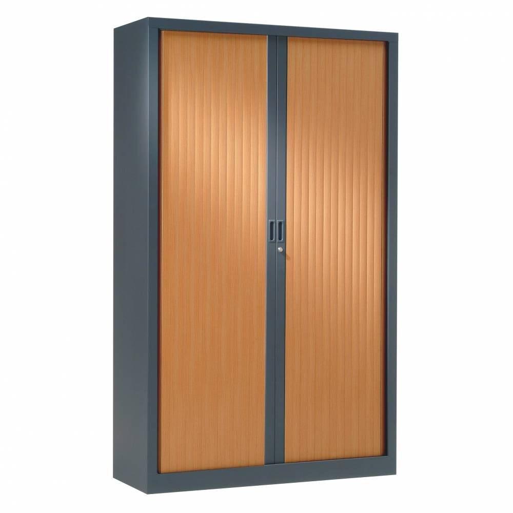 Armoire monobloc rideaux 1/3 pend h198xl120xp43 cm anthra. Rid. Pommier france