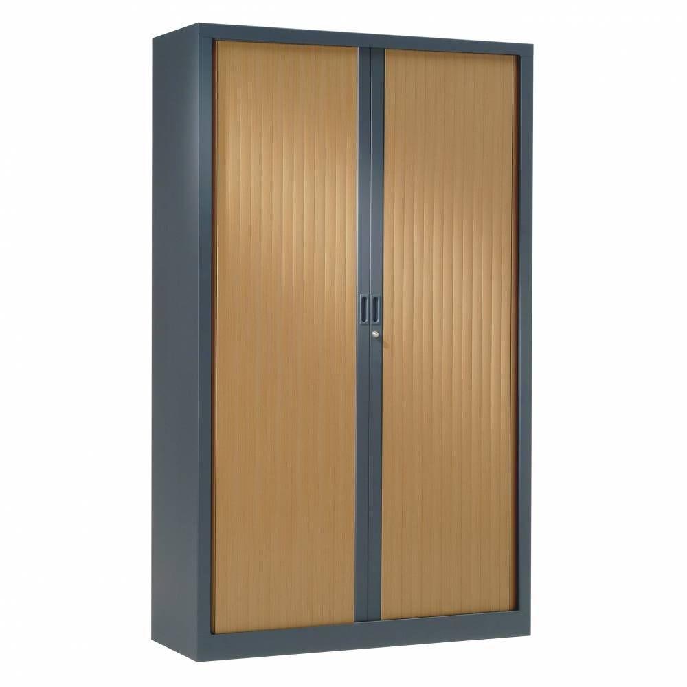 Armoire monobloc rideaux 1/3 pend h198xl120xp43 cm anthra. Rid. Pommier honfleur