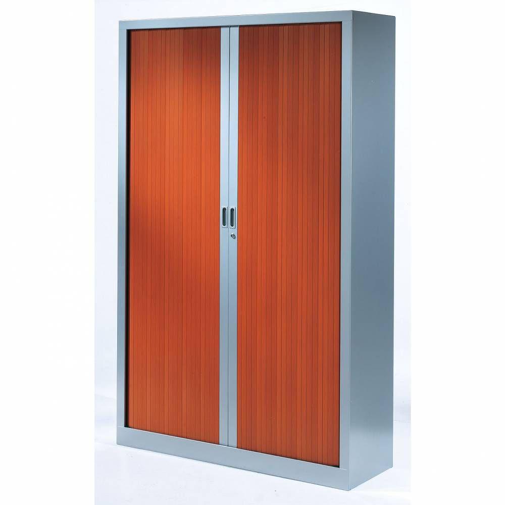 Armoire monobloc rideaux 1/3 penderie h198xl120xp43 cm alu rideaux merisier