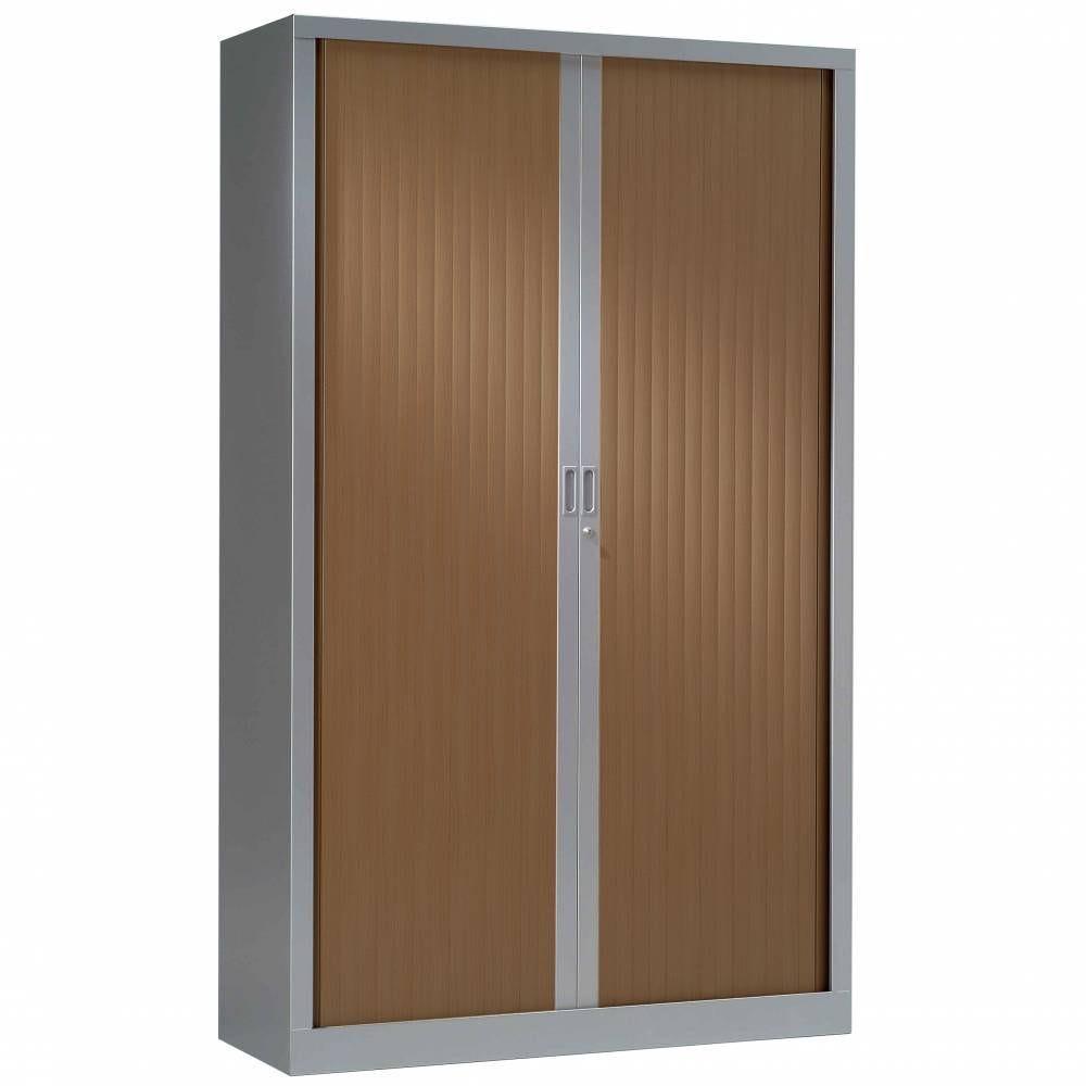 Armoire monobloc rideaux 1/3 penderie h198xl120xp43 cm alu rideaux poirier foncé