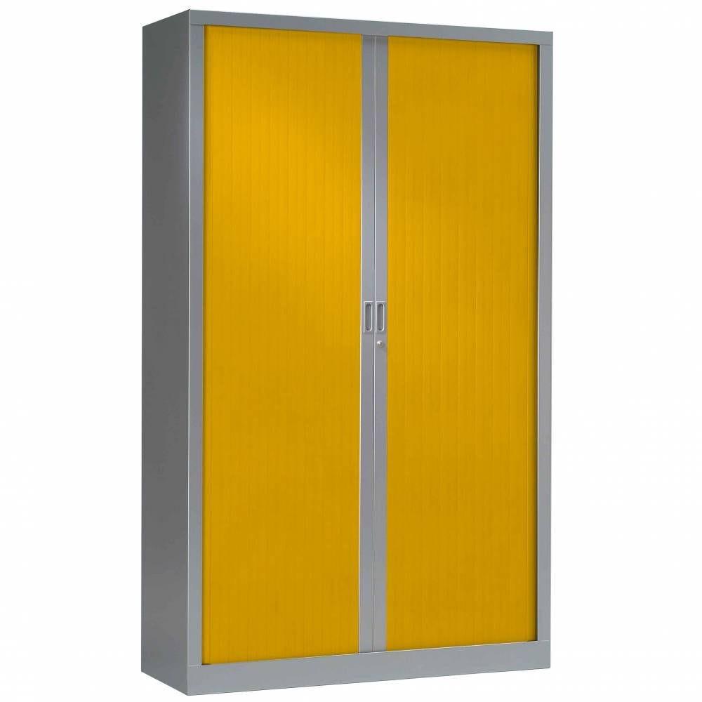 Armoire monobloc fun h198xl120xp43 cm 4 tab. Aluminium rideaux jaune