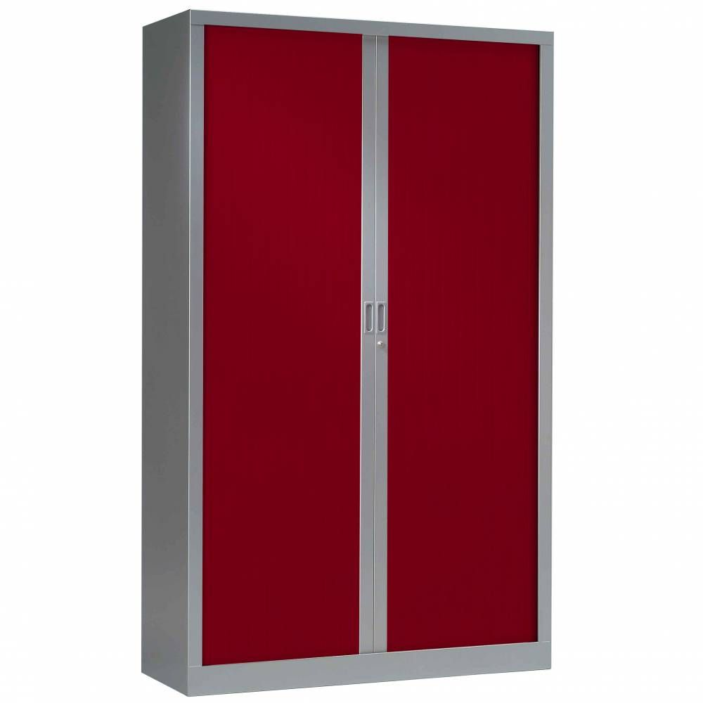 Armoire monobloc fun h198xl120xp43 cm 4 tab. Aluminium rideaux rouge