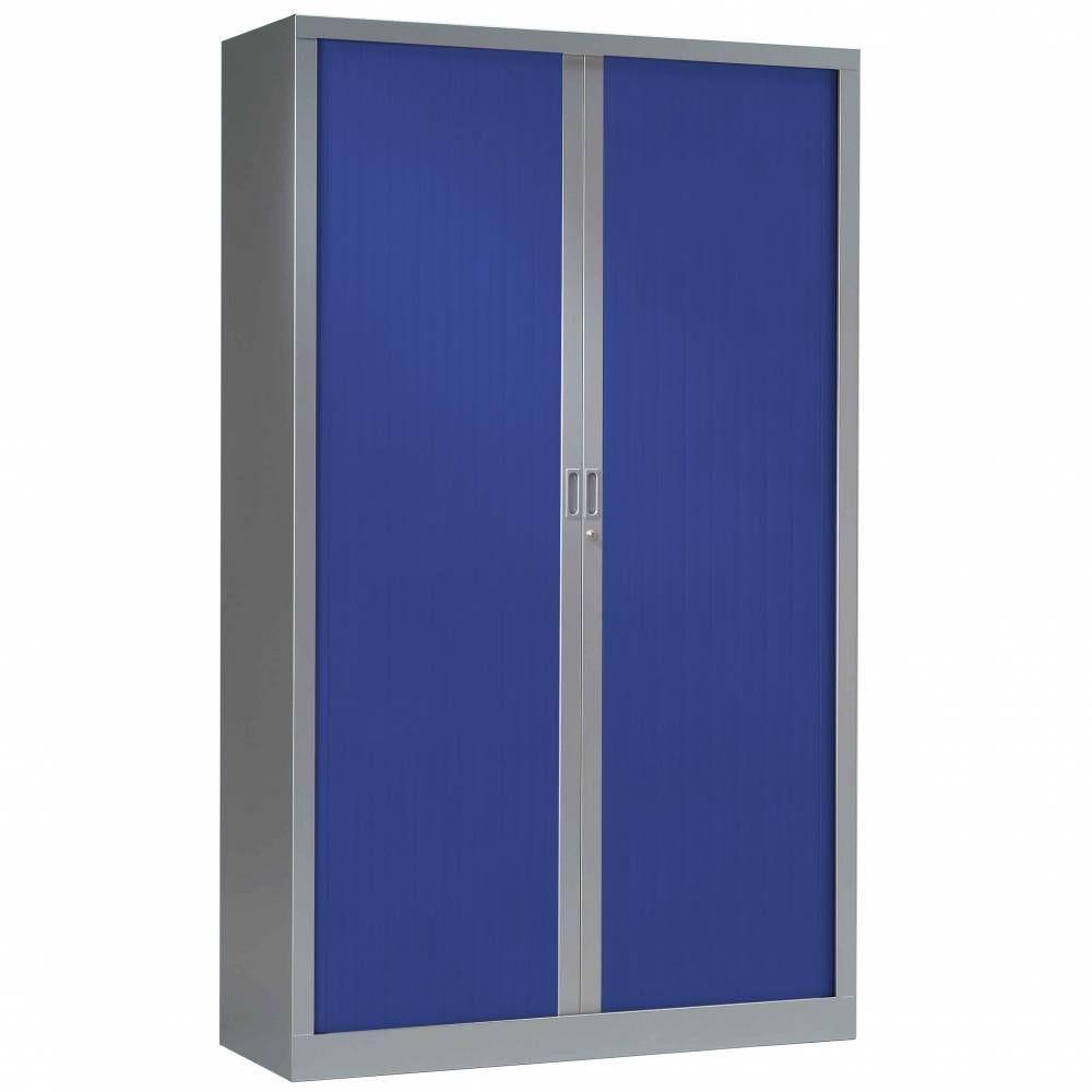 Armoire monobloc fun h198xl120xp43 cm 4 tab. Aluminium rideaux bleu