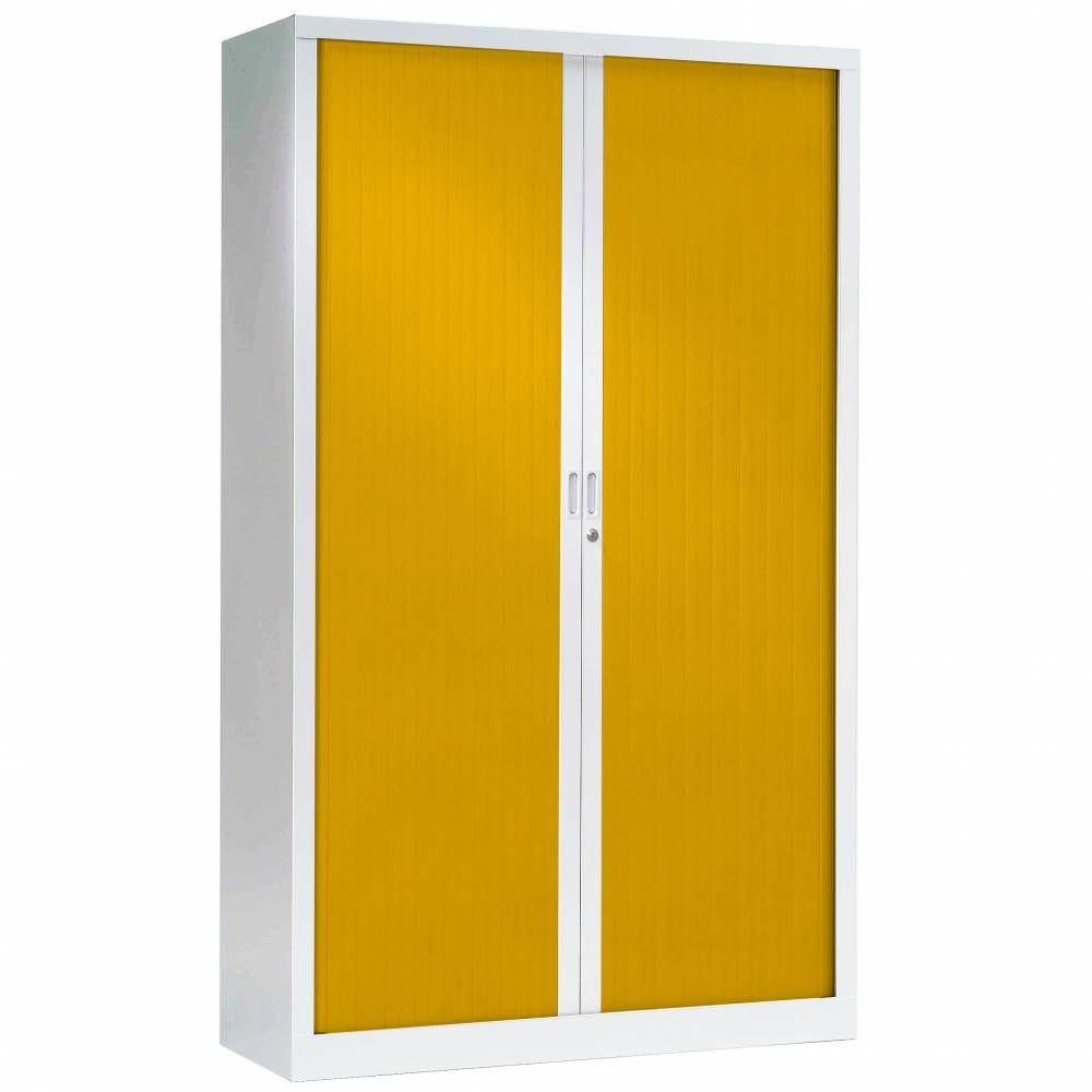 Armoire monobloc fun h198xl120xp43 cm 4 tab. Blanc rideaux jaune