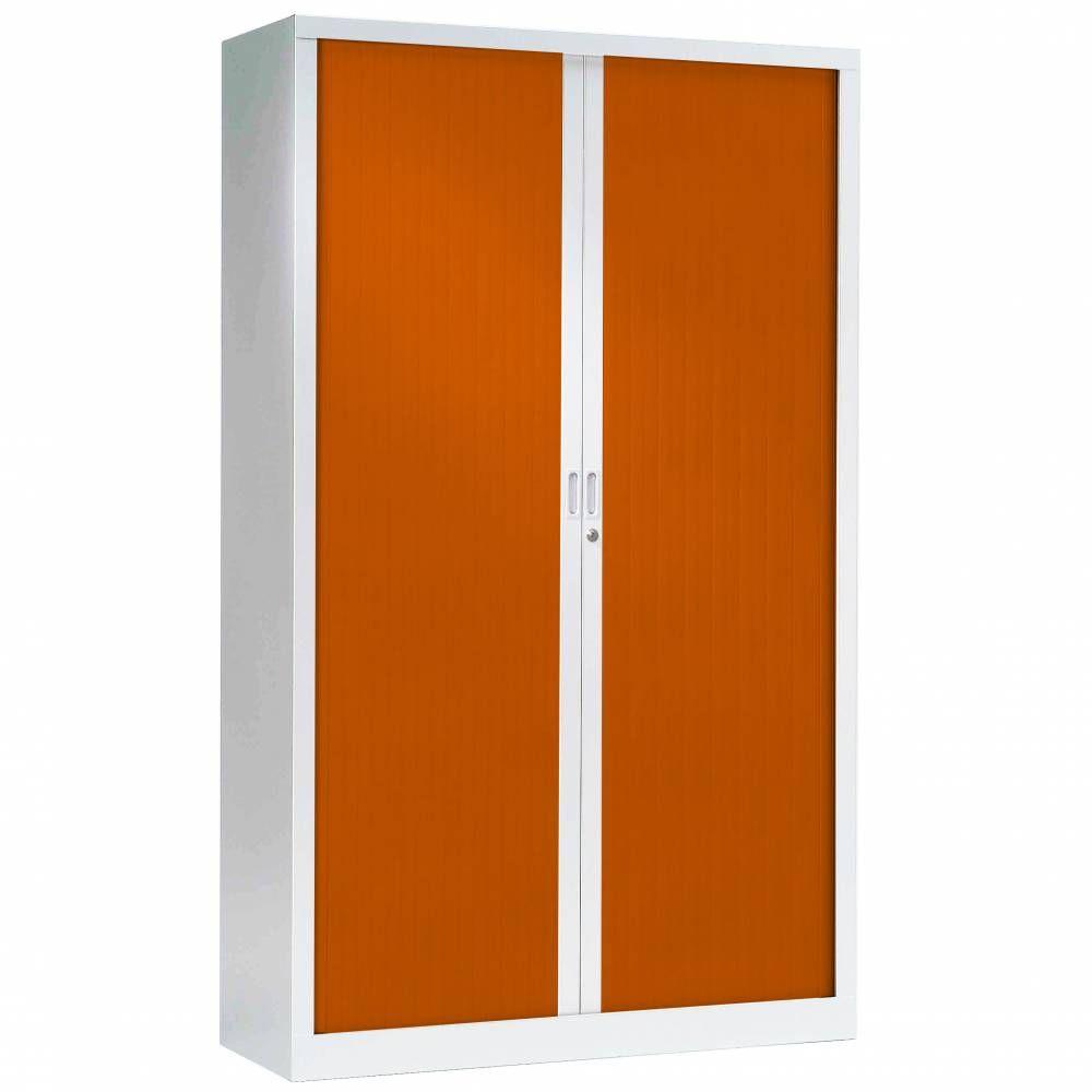 Armoire monobloc fun h198xl120xp43 cm 4 tab. Blanc rideaux orange