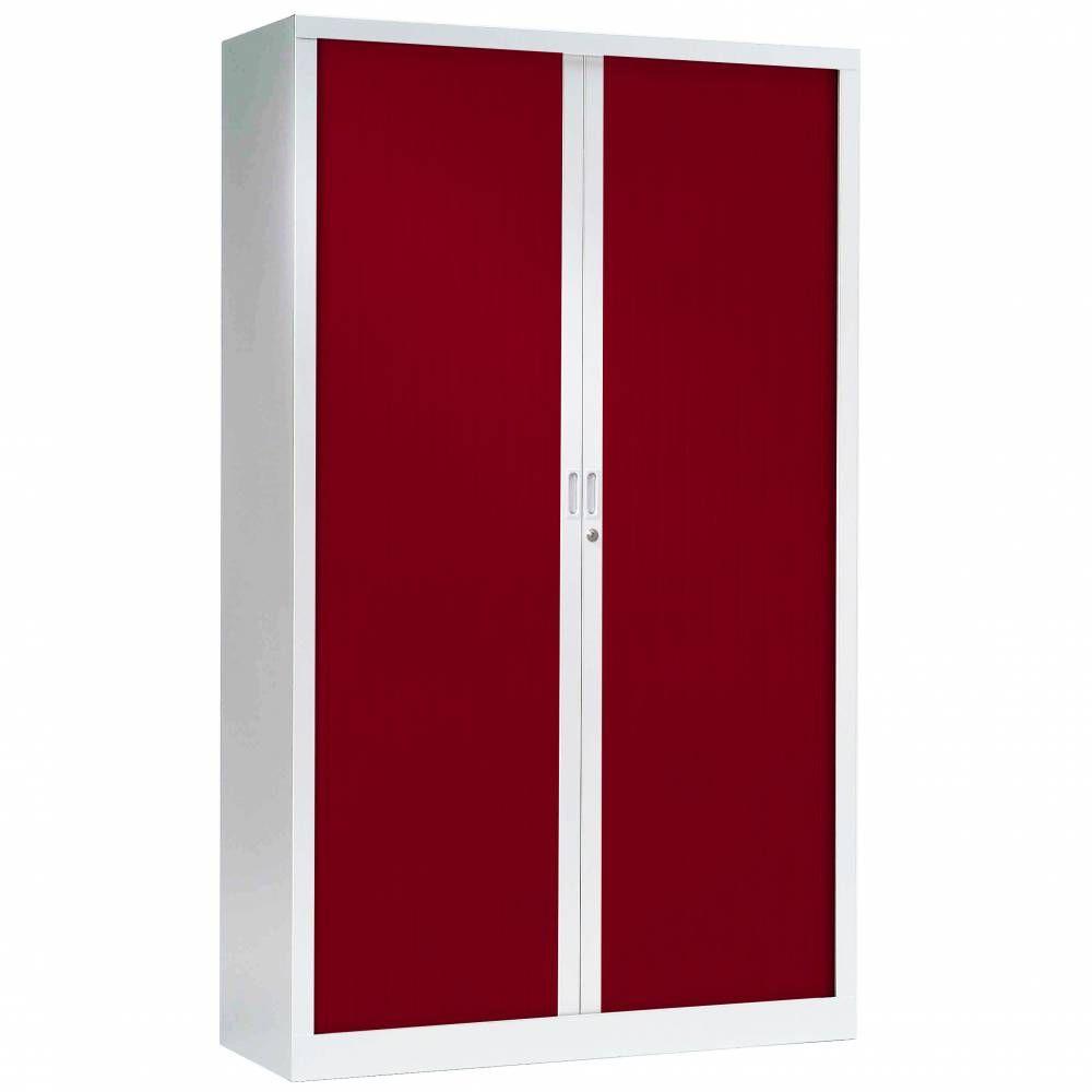 Armoire monobloc fun h198xl120xp43 cm 4 tab. Blanc rideaux rouge
