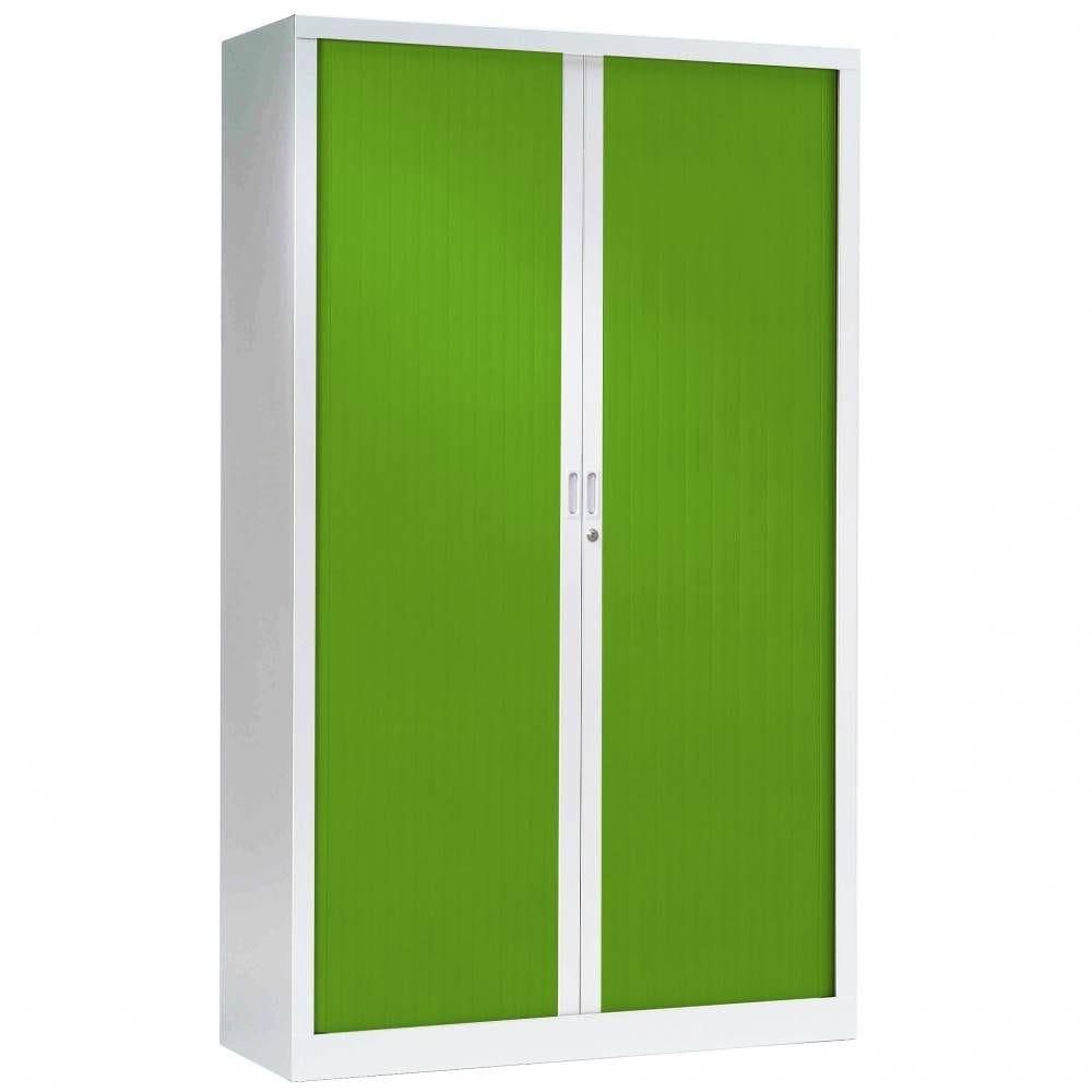 Armoire monobloc fun h198xl120xp43 cm 4 tab. Blanc rideaux vert