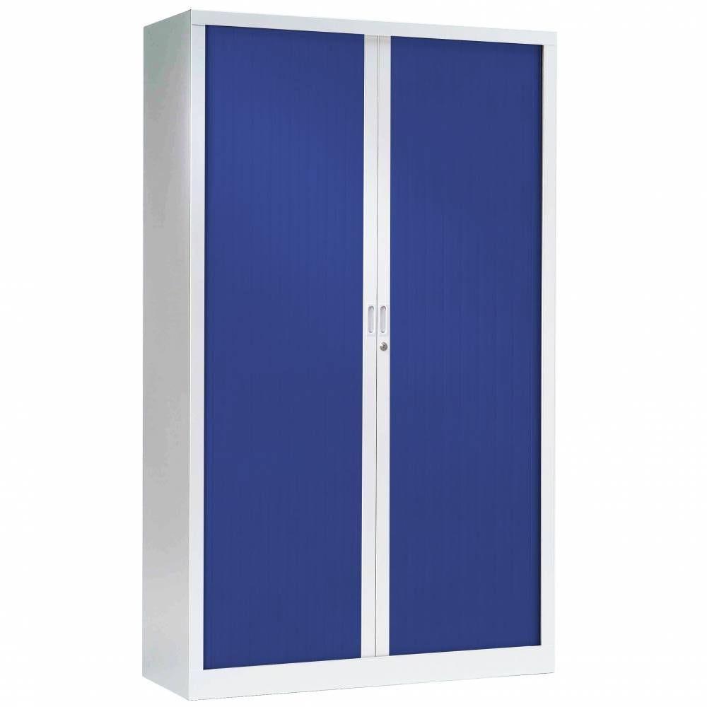 Armoire monobloc fun h198xl120xp43 cm 4 tab. Blanc rideaux bleu