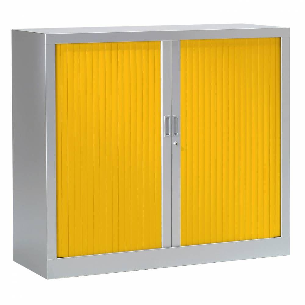 Armoire monobloc fun h100xl120xp43 cm 2 tab. Aluminium rideaux jaune