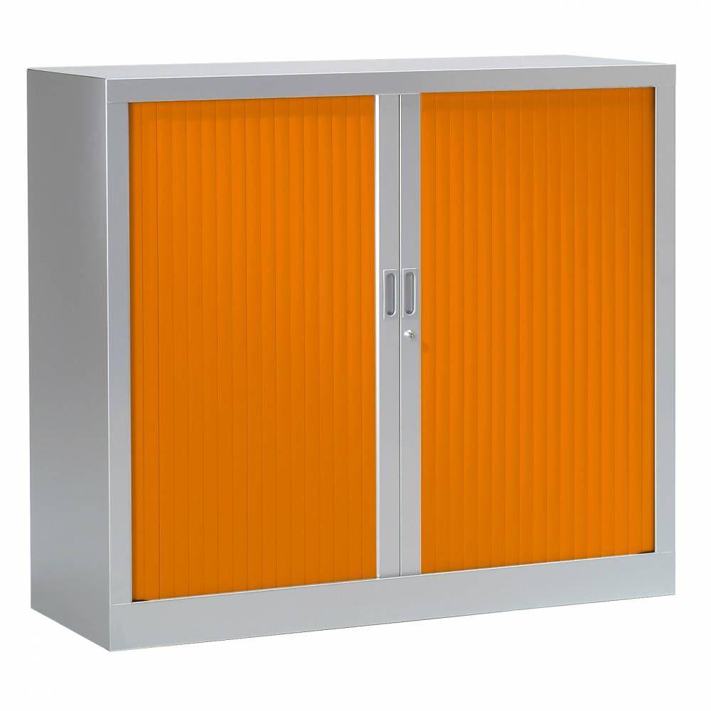 Armoire monobloc fun h100xl120xp43 cm 2 tab. Aluminium rideaux orange