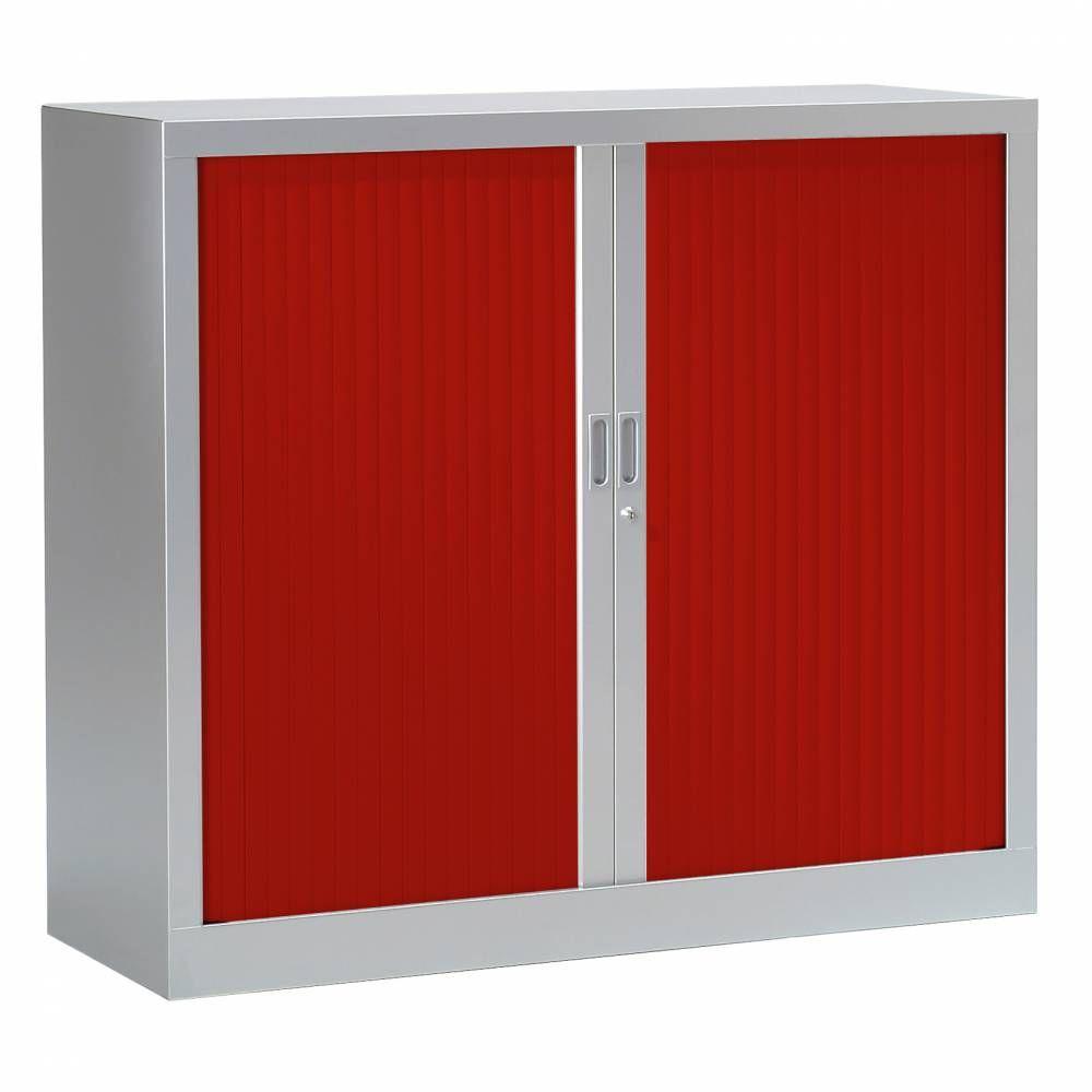 Armoire monobloc fun h100xl120xp43 cm 2 tab. Aluminium rideaux rouge
