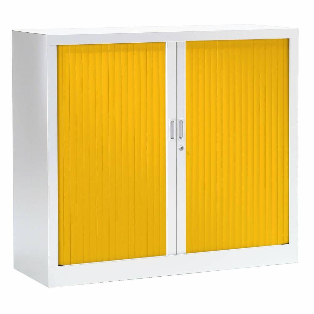Armoire monobloc fun h100xl120xp43 cm 2 tab. Blanc rideaux jaune