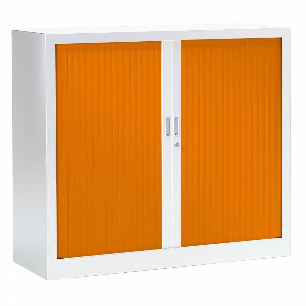 Armoire monobloc fun h100xl120xp43 cm 2 tab. Blanc rideaux orange