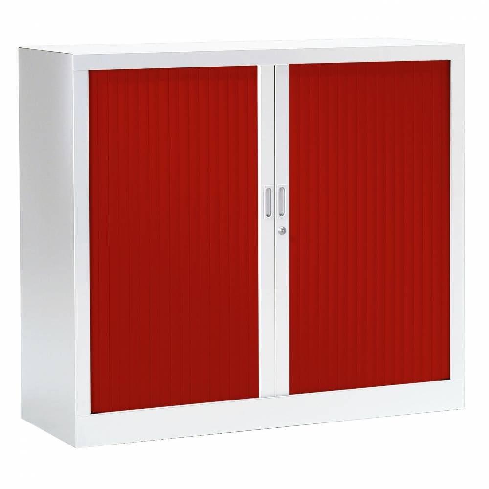 Armoire monobloc fun h100xl120xp43 cm 2 tab. Blanc rideaux rouge