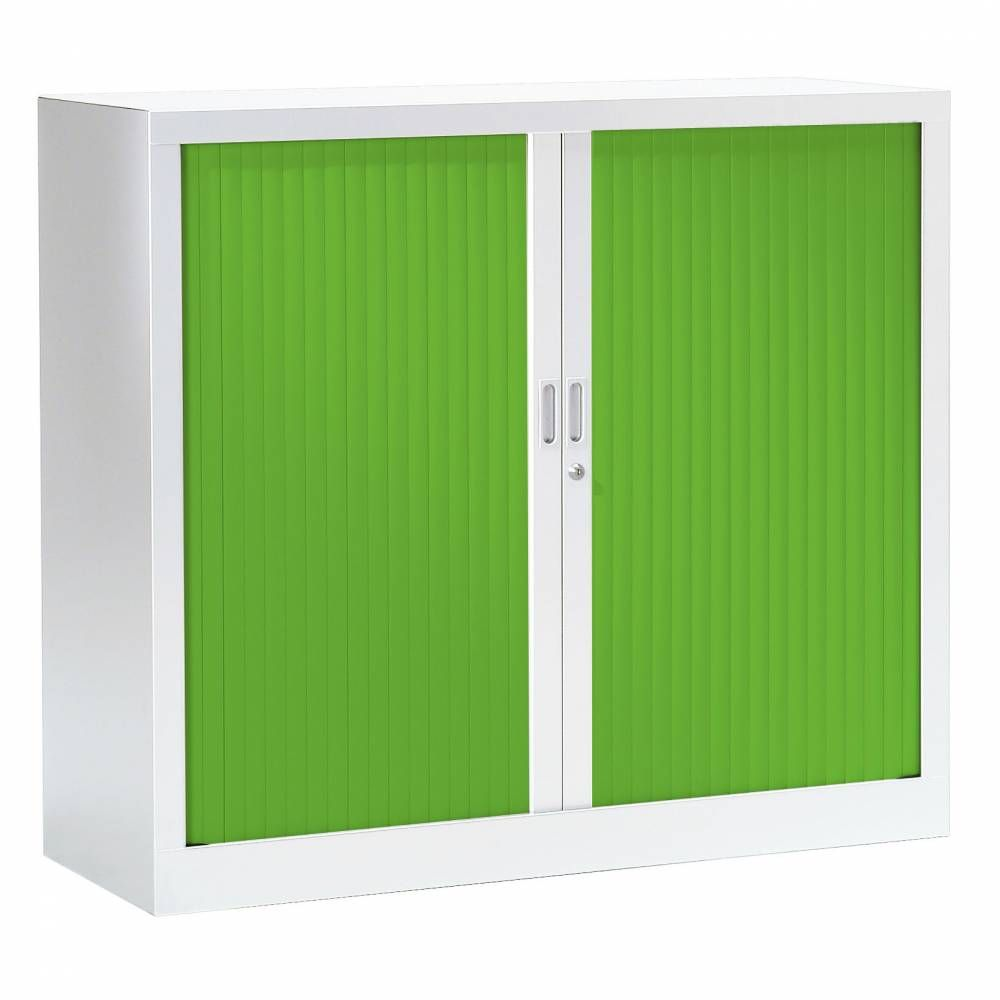 Armoire monobloc fun h100xl120xp43 cm 2 tab. Blanc rideaux vert