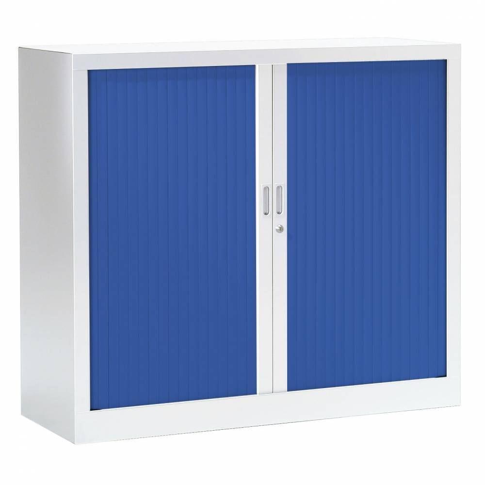 Armoire monobloc fun h100xl120xp43 cm 2 tab. Blanc rideaux bleu