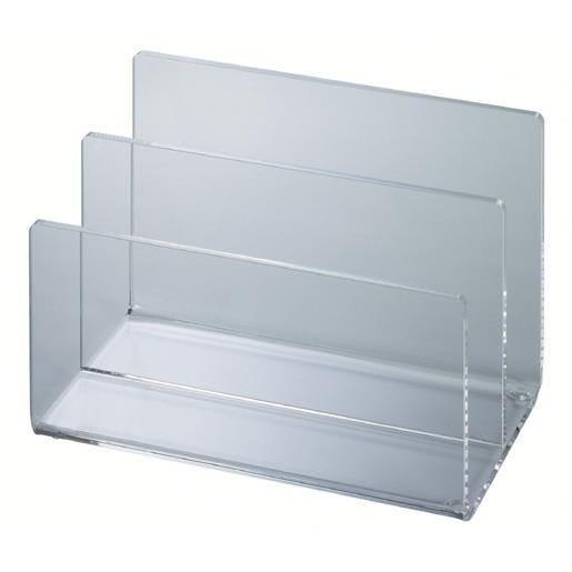 Trieur de bureau acrylique 2 compartiments transparent (photo)