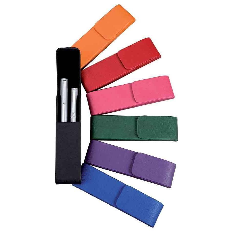 Etui pour 2 stylos aquila fermeture magnétique simili cuir rose (photo)
