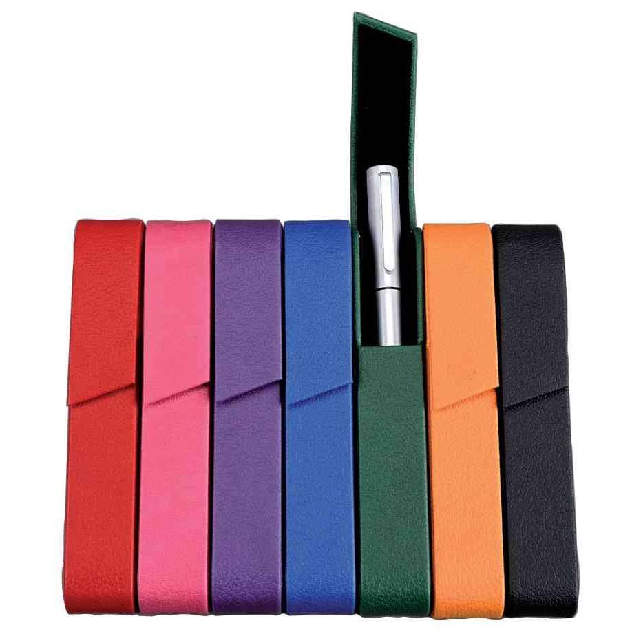 Etui pour 1 stylo rivoli fermeture magnétique simili cuir rose (livré vide) (photo)